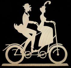 Victorian Tandem Bicycle Couple Decorative Wood di mountainbrook, $10.10
