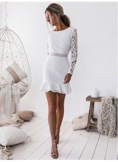 7d06ba28f1 Hot Sale Distinct Lace White Homecoming Dress