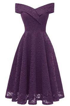 d70e08a9f36 Purple Off-the-shoulder Lace Midi Prom Dress