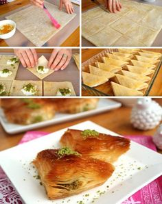 Baklava Pastry with Pastry from Baklava - Yummy Recipes Arabic Dessert, Arabic Sweets, Arabic Food, Turkish Sweets, Indian Sweets, Baklava Dessert, Baklava Recipe, Yummy Recipes, Dessert Recipes
