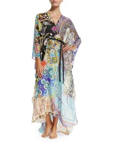 ETRO Paisley-Print Belted Caftan Coverup, Black/Blue. #etro #cloth #