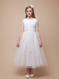Satin and Tulle  Overlay Flower Girl Dress