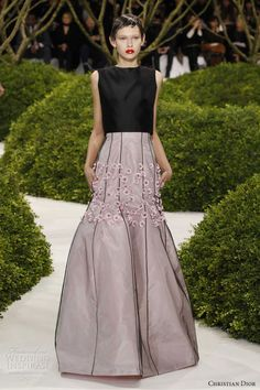 dior couture spring summer 2013 sleeveless black pink gown