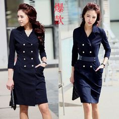 2012  women's double breasted trench paragraph  fashion half sleeve turn-down collar slim  dress free shipping dropship on AliExpress.com. 15% off $39.02