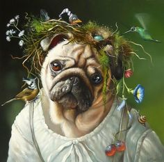 By Wim Bals Animals And Pets, Funny Animals, Dog Artwork, Pug Art, Dog Paintings, Dog Portraits, Creative Portraits, Pug Life, Pet Clothes