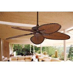Feel the tropical breezes with this handsome pull chain ceiling fan design, one of the best outdoor fans from Fanimation. Style # 16511 at Lamps Plus. Dark Ceiling, Porch Ceiling, 52 Ceiling Fan, Bronze Ceiling Fan, Exterior Ceiling Fans, Best Outdoor Ceiling Fans, Patio Fan, California Room, Ceiling Fan Makeover