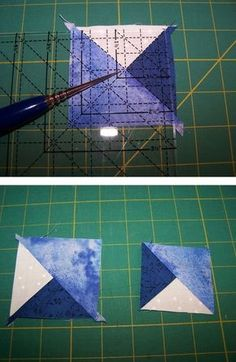 In this article, go through the precision technique basics of quilt piecing quarter and triple triangle squares. Quilting For Beginners, Quilting Tips, Quilting Tutorials, Quilting Projects, Sewing Projects, Triangle Quilt Tutorials, Quilt Boarders, Half Square Triangle Quilts, Star Quilt Blocks