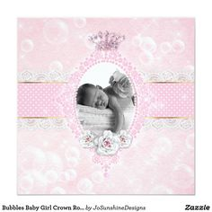 Shop Bubbles Baby Girl Crown Rose Pink Gold Dot Invitation created by JoSunshineDesigns. Girls Crown, Gold Dots, Baby Cards, Beautiful Babies, White Envelopes, Pink Roses, Pink And Gold, Bubbles, Invitations