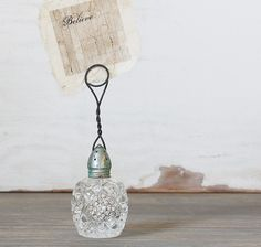 Items similar to Vintage Inspired Rhinestone Rusty and Patina Salt Shaker Photo Holder on Etsy Diy Projects To Try, Craft Projects, Diy And Crafts, Arts And Crafts, Altered Bottles, Photo Holders, Photo Displays, Altered Art, Repurposed