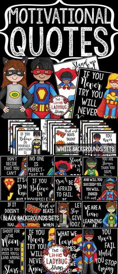 Motivational Quote Posters • Motivational Posters- Superhero Theme can be so inspiring to students! Hang these beautiful Bright and Colorful Posters in your room! They are classy, fun, and simple that they compliment MANY classroom themes! These are perfect for laminating and hanging all year on your bulletin boards or class door! Match up with another color and it works perfectly!