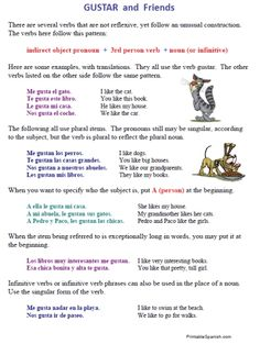 20 page Spanish worksheets packet on gustar and reflexive verbs -- FREE and easy to download at PrintableSpanish.com