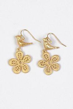 Bird flower earrings
