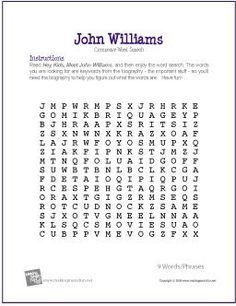 John Williams | Free Composer Word Search Worksheet