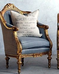 Vintage 1930's Shabby Gilt French Style Louis XVI Oval Back Bergeres