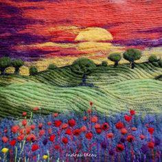 Sunset - needle felted art on TAFA, love the combination of wet and needle felting, plus stitching....
