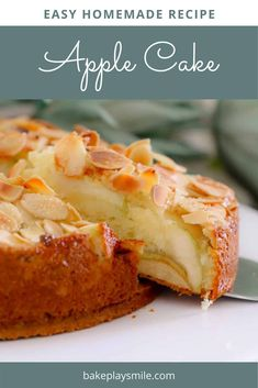 A moist and easy apple cake recipe made from a classic butter cake base, layered with apple slices and topped with flaked almonds. #apple #cake #classic #german #recipe #thermomix #conventional #dessert