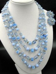 Vintage Opalescent Blue Glass Faceted Signed Japan Four Strand Necklace and Married W. German Earring Set #vintagejewelry #jewelryset #vintageglassbeads #Japanbeads $59.00