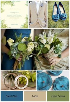 Olive Green and Blue Wedding theme by tayrae10