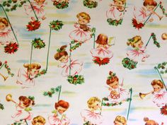 Vintage Little Angel Children Music Note Christmas Gift Wrap Wrapping Paper