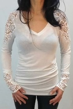Brief V-Neck Crocheted Lace Spliced Long Sleeve T-Shirt For Women