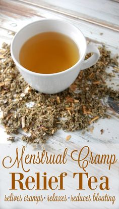 Menstrual Cramps Relief Menstrual Cramp Relief Tea - Make this tea blend ahead of time so that when you do get your period, you're ready with this cramp relieving, bloat reducing, relaxing tea! Remedies For Menstrual Cramps, Cramp Remedies, Tea For Menstrual Cramps, Cold Remedies, Bloating Remedies, Natural Health Remedies, Herbal Remedies, Natural Remedies For Cramps, Natural Health Tips