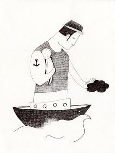Seemann vater Kunstdruck // Sailor father art print via DaWanda.com