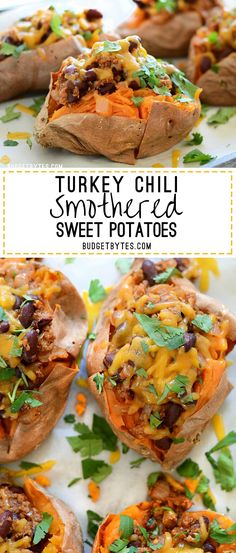 A fast super fast weeknight chili tops these Turkey Chili Smothered Sweet Potatoes along with melty cheddar cheese and bright cilantro. - BudgetBytes.com