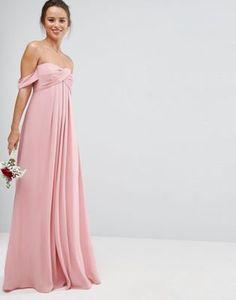 ASOS WEDDING Bandeau Tie Front Maxi Dress