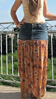 """Combine a pair of old jeans plus a skirt for a new look     Gypsy Skirt Tutorial at Tousled Day Blog     """" I'm still on my """"old jeans stoc..."""