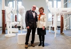 Queen Sonja and Mette Marit attended the opening of Killi-Olsen's exhibition