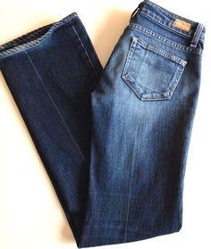 """Paige Jeans Laurel Canyon Sz 26 x 32"""" Premium Distressed Denim Boot Cut Low Rise…"""