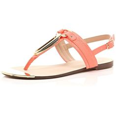 River Island Coral snake print gold trim sandals ($23) ❤ liked on Polyvore
