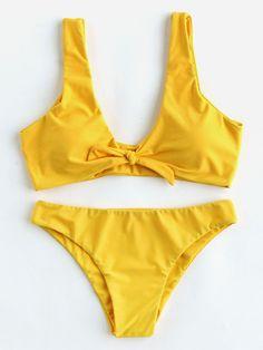 Bow Tie Front Plunge Neckline Bikini Set
