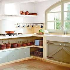 Liked the open shelves below the counter.