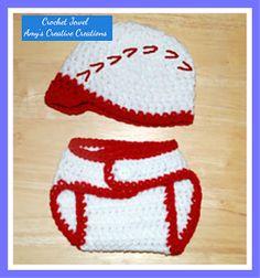 Amy's Crochet Creative Creations: Crochet Baseball Hat & Diaper Cover Sizes (0-3 Months) Crochet Baby Clothes, Newborn Crochet, Crochet Baby Hats, Crochet Gifts, Crochet Beanie, Crochet Cap, Crochet Cardigan, All Free Crochet, Crochet For Boys