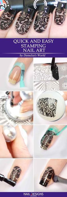 Quick Guide To 25 Stylish Yet Simple Nail Stamping nail art stamping for beginners Fancy Nail Art, Fancy Nails, Nail Art Diy, Cool Nail Art, Trendy Nails, Diy Nails, Nail Nail, Best Nail Art Designs, Simple Nail Designs