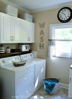Basement Laundry Room Decorations Ideas And Tips 2018 Small laundry room ideas Laundry room decor Laundry room makeover Farmhouse laundry room Laundry room cabinets Laundry room storage Box Rack Home Tiny Laundry Rooms, Laundry Room Shelves, Laundry Room Remodel, Farmhouse Laundry Room, Laundry Closet, Laundry Room Organization, Laundry Room Design, Laundry Decor, Basement Laundry