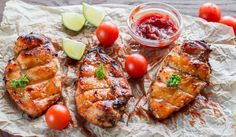Grilled chilli jam chicken with lime dressing Ginger Chicken, Smoked Chicken, Lime Chicken, Bbq Chicken, Tandoori Chicken, Chilli Jam, Chicken Breast Fillet, Grill Plate, Lime Dressing
