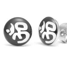 R&B Joyas - Pendientes unisex para mujer y hombre, pendientes de botón símbolos hindú, aum, yoga, acero inoxidable, color plateado / negro / blanco: Amazon.es: Joyería
