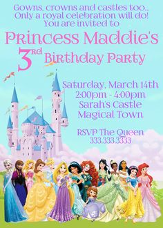 Disney Princess Invitation Princess Birthday by CutePixels on Etsy                                                                                                                                                                                 More