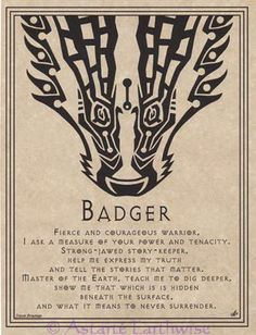 "Badger Prayer Shaman Poster Animal Spirit Guide Page 8 1 2 "" x Art Wicca Pagan Witch, Wiccan, Witchcraft, Witches, Magick Book, Magick Spells, Candle Spells, Animal Spirit Guides, Animal Medicine"