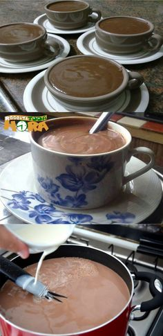 Chocolate Quente com Maizena Tasty, Yummy Food, How Sweet Eats, Dessert Recipes, Desserts, Sin Gluten, Hot Chocolate, Food Art, Sweet Tooth
