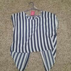 Agaci Blue and white Stripes Top Blouse Open back, size M, very cute top! Tops