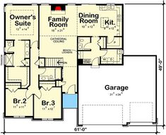 3-Bed House Plan With Vaulted Family Room - 42513DB | Architectural Designs - House Plans