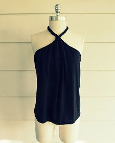 DIY Tee-Shirt Halter -  try using oversized/too long shirt and making a swim cover up