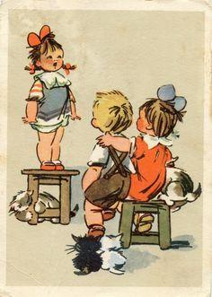 Советские открытки. Репетиция. Худ. Т. Вышенская. Изогиз, 1957.
