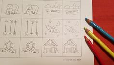 Mountain Cabin Lake Cabin Memory Matching Game Printable for Camping in Forest & Woodland Themed Coloring Page by PresentsofLoveShop on Etsy