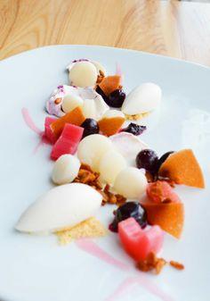 Poached rhubarb, greek yogurt sorbet, blueberry compote, granola, yogurt mochi, and yogurt tuile.