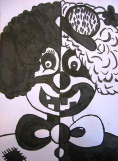 ZŠ Čakovice - výtvarná výchova - Fotoalbum - Ukázky prací - šestý ročník - Klauni Wire Crafts, Childhood Education, Aesthetic Art, Bat Signal, Doodle Art, Superhero Logos, Alphabet, Minnie Mouse, Disney Characters