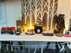 Woodland Campfire party - dessert trestle table with woodland backdrop 10th Birthday Parties, 12th Birthday, Trestle Table, Party Desserts, Tween Girls, Woodland, Backdrops, Table Settings, Party Ideas